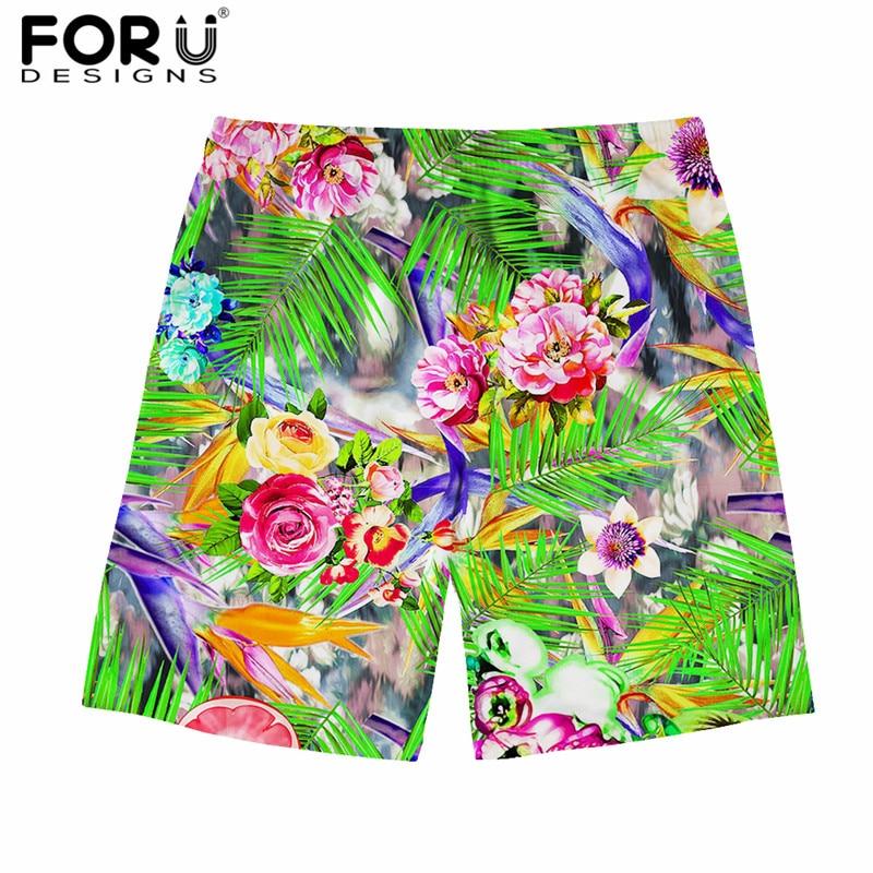 FORUDESIGNS Hawaiian Style Men Beach   Short   Trunks   Board     Shorts   Plus Size Floral Print Quick Dry Boardshort Hombre Comfort Pants