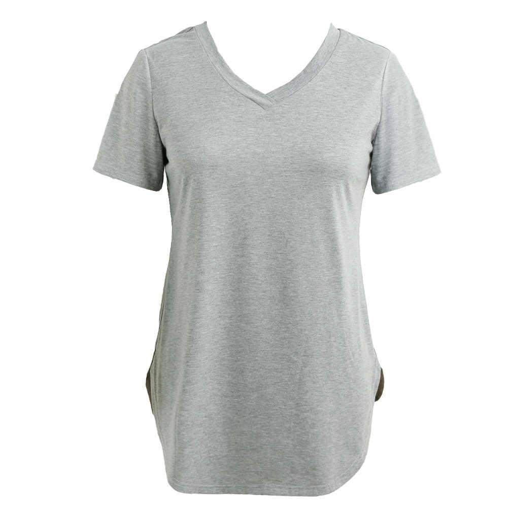 Женская футболка лето плюс размер футболки Базовые Рубашки Женские однотонные v-образный вырез с коротким рукавом Длинные повседневные Большие размеры женские 5XL Женские топы