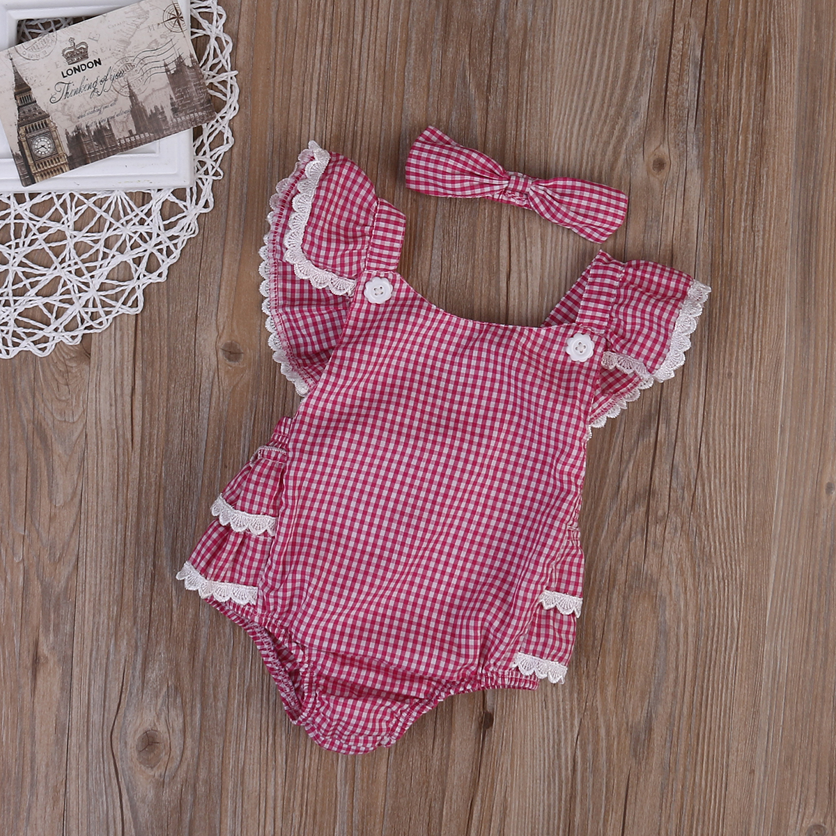 2pcs Baby Set Cute Infant Baby Girls Clothes Summer Flying Sleevless Lace Red Plaid Floral Romper Jumpsuit+Headband Outfits Set pudcoco newborn infant baby girls clothes short sleeve floral romper headband summer cute cotton one piece clothes