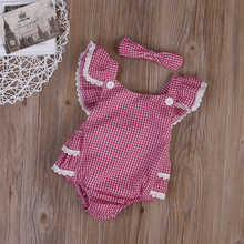 Sleeveless plaid romper with headband (set)