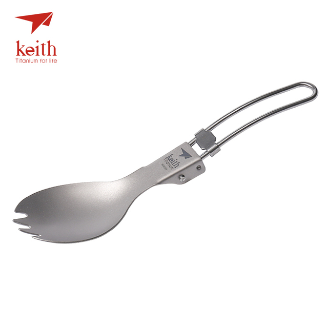 Keith Titanium Folding Spork Camping Cutlery Travel Tablewares Outdoor Picnic Hiking Convenient Fork Spoon 17.5g Ti5301