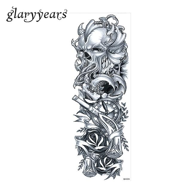 1 Feuille Grand Complet Bras Tatouage Autocollant Crane Rose Fleur