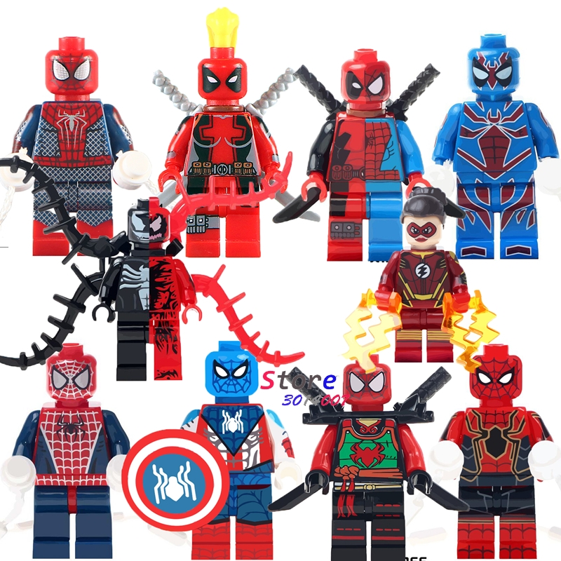 все цены на Single Deadpool Spider Man Venom vs Carnage Jesse Quick Ninja Figures building blocks models bricks toys for children kits