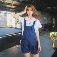Kawaii Cat Paws Denim Strap Shorts Young Girl Summer Bib Overall Pants