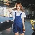 Jfashion Kawaii Cat Paws Denim Strap Shorts Young Girl Summer Dolly Cute Blue Bib Overall Pants
