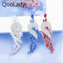 QooLady Luxury White Blue Red Cubic Zirconia Setting Vintage Leaf Bridal Long Dangle Earrings Jewelry for Wedding Party E009