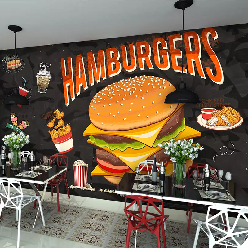 Custom Mural Wall Painting Hamburger Fried Chicken Fast Food Restaurant Coffee Shop Wall Decorative Wallpaper Papel De Parede 3D