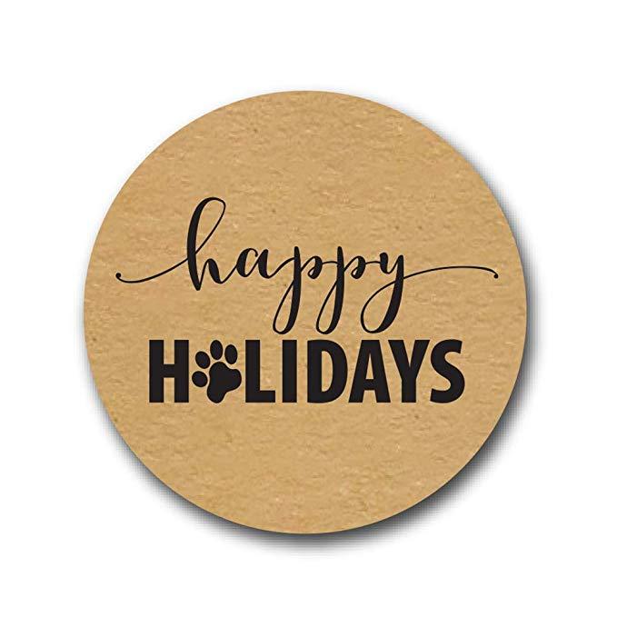 Купить с кэшбэком Happy Holidays Sticker with Paw Print cute sticker scarpbooking for christmas student stationery supply 500 labels stickers
