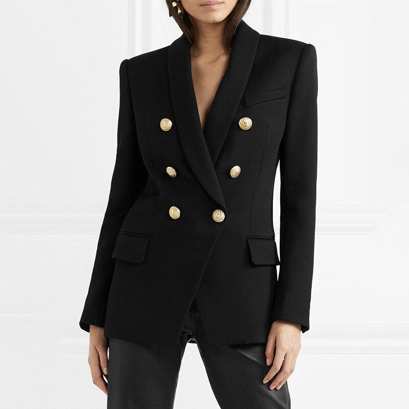 HAGEOFLY automne rouge noir noir Blazer femmes bureau Slim formel veste manteau décontractée Double boutonnage métal boutons Blazer hauts-in Blazers from Mode Femme et Accessoires    1