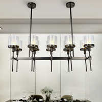 American Retro Black Metal Led Pendant Light 10 Light L102 E14 Glass Shades Pendant Lamp Straight Hanging Lamp For Dining Room