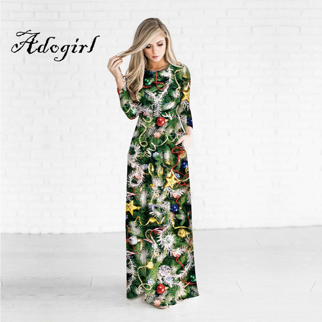 Adogirl 2017 New Fashion 3d Print O Neck Women Christmas Party Dresses  Wrist Sleeves One Piece 74f5aec6d6c4