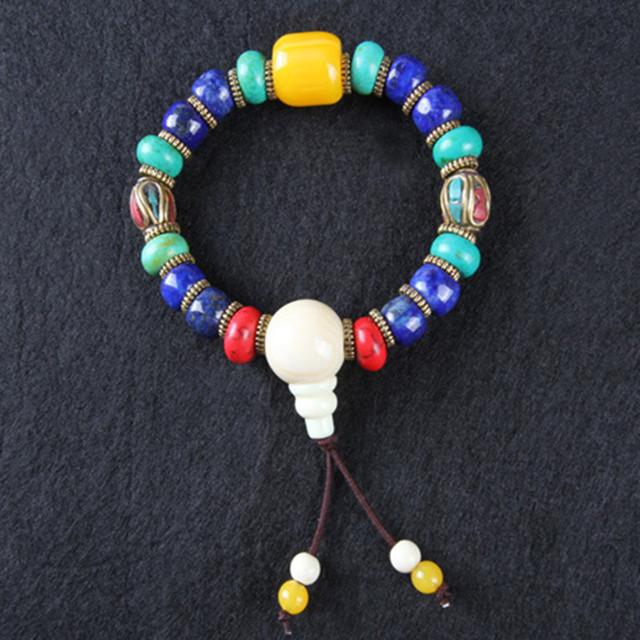 Ubeauty moda Nepal Tibetano muñeca Mala cuentas de oración pulsera lapis pulseras de colores para La Meditación envío gratis