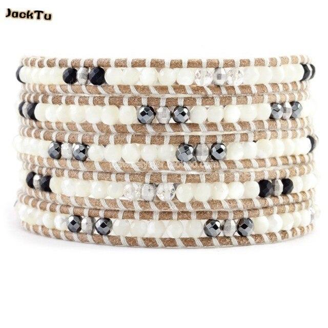 2017 JACK TU hematite mixed pearl beige leather wrap bracelet