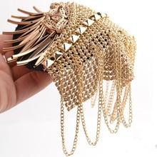 Handmade golden silver epaulette jewelery tassel big shoulder brooch golden epaulettes patch blazer accessories, pin