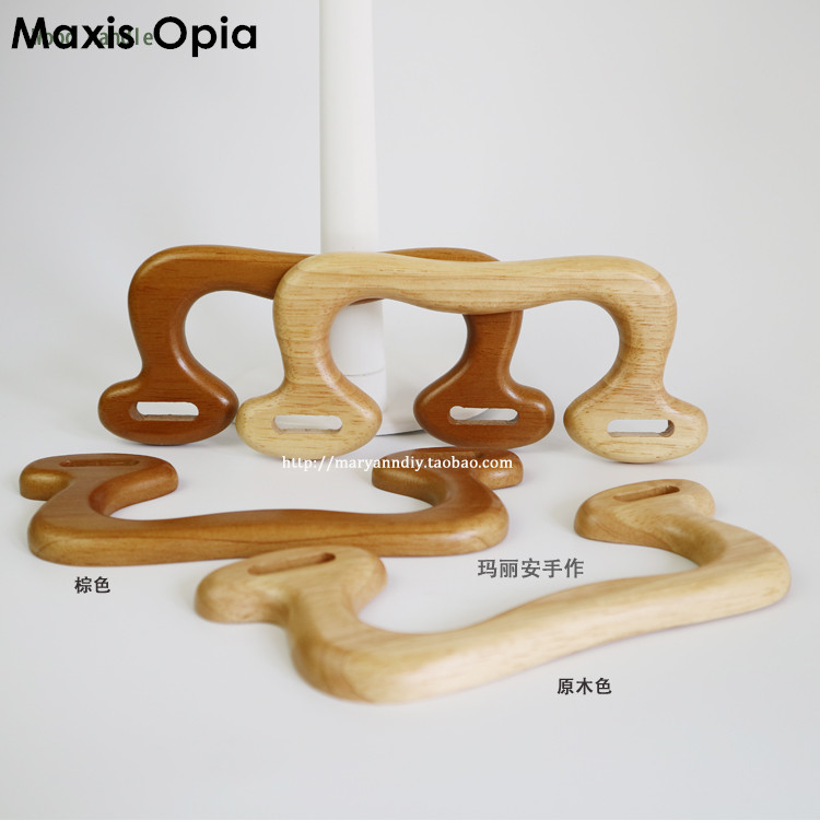 One Pairs=Two pieces 17.2X9cm Solid OKA Tree Nature Coffee Wooden <font><b>Bag</b></font> Handles <font><b>Zippo</b></font> <font><b>Lighter</b></font> Obag Mini Wood Purse Frame Handle image