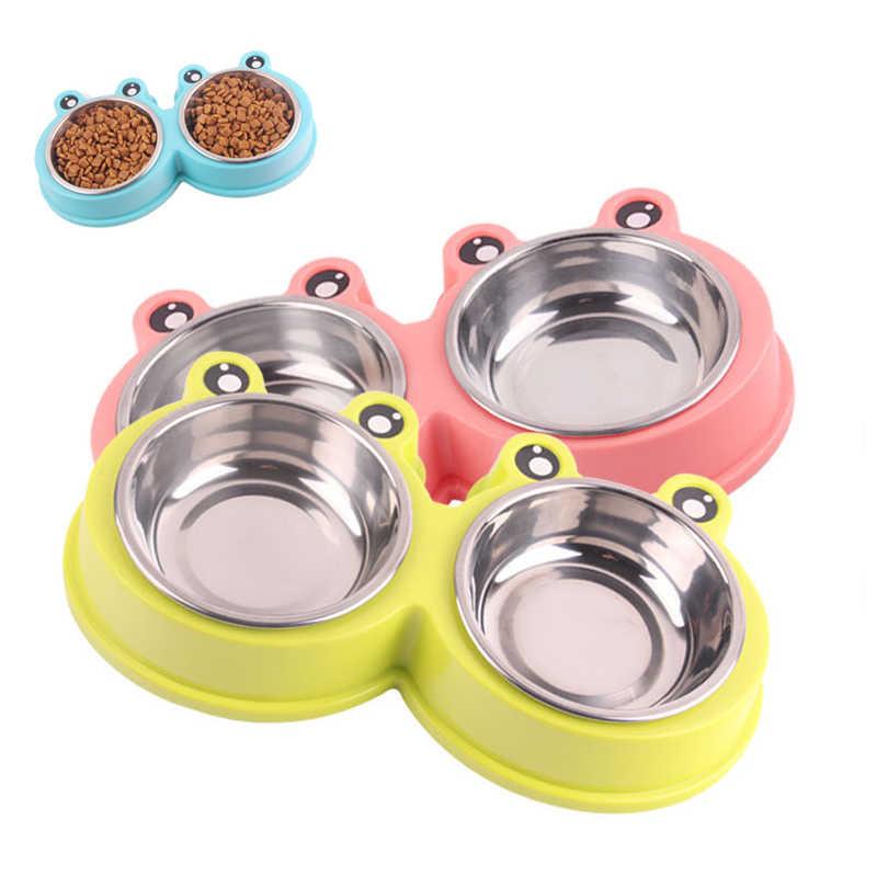 Cão de estimação tigelas filhote de cachorro comida de cachorro tigela de gato de aço inoxidável tigela de armazenamento de alimentos de água alimentador não-tóxico pp resina combo bacia de arroz