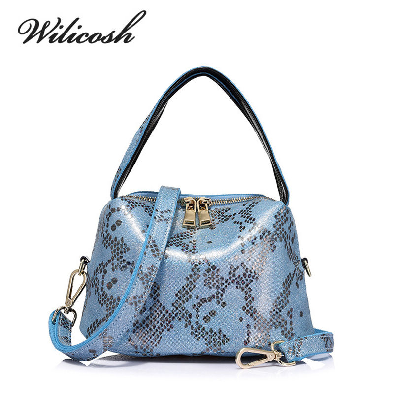 Wilicosh Individual Fashion Snake Pattern Genuine Leather Women Handbag High Qua