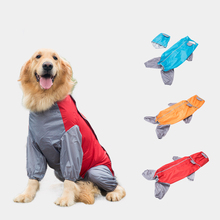 OUYXR Large Dog Clothes Raincoat Waterproof Suits Dot Rain Cape Pet Clothing For Big Dogs Hooded Jacket Poncho Coat