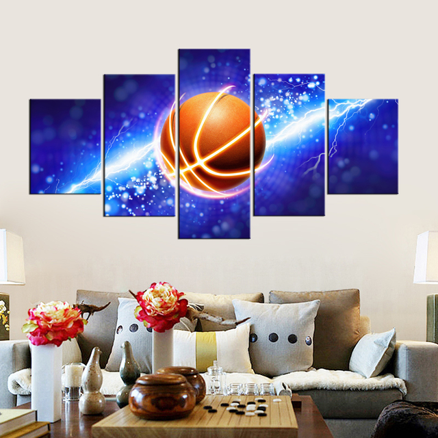 US $13 27 16% OFF|Aliexpress com : Buy 2 Designs Cool Lightning Basketball  Poster Prints Art Blue Painting Modern Wall Art Basketball Picture Frames