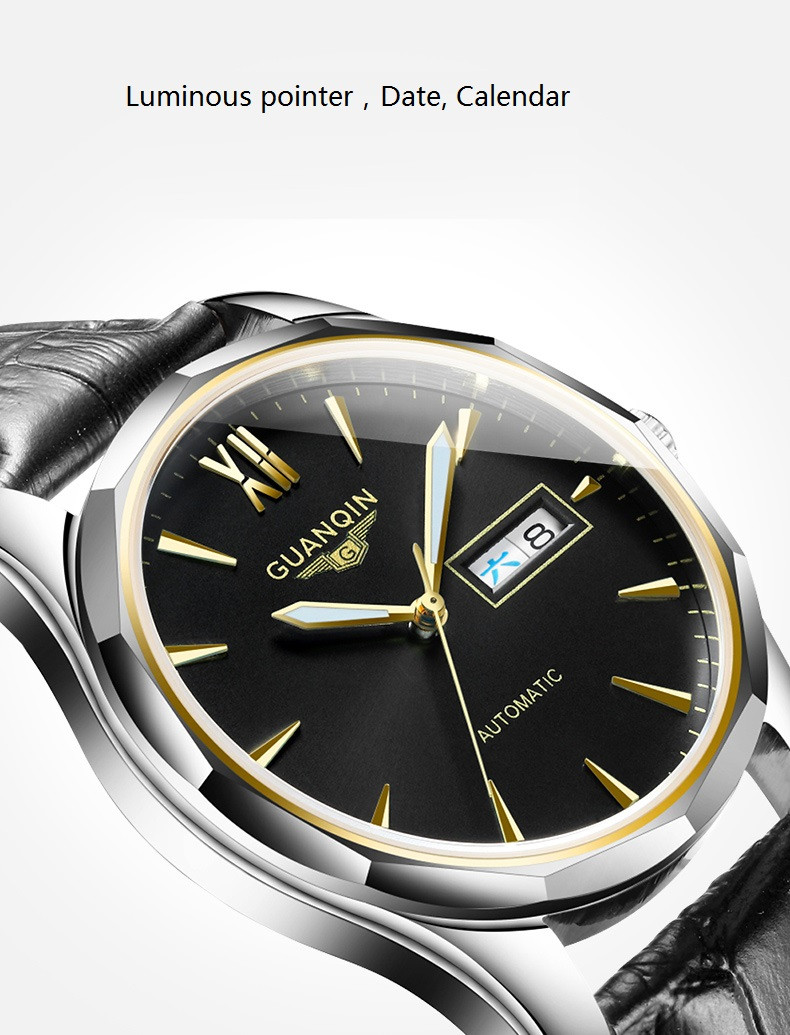 GUANQIN Luminous Men Watch Automatic Mechanical Tungsten Steel Watches Date Calendar Japanese Movement Watch with Leather Strap (3)