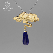 Lotus Fun Real 925 Sterling Silver Nature Lapis Stone Fine Jewelry Vintage Peace Clouds Pendant Without Chain Necklace for Women