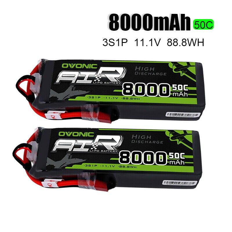 2 Packs OVONIC Lipo Batteries 8000mAh 50C 3S 11 1V Deans Plug for 1 8 Size