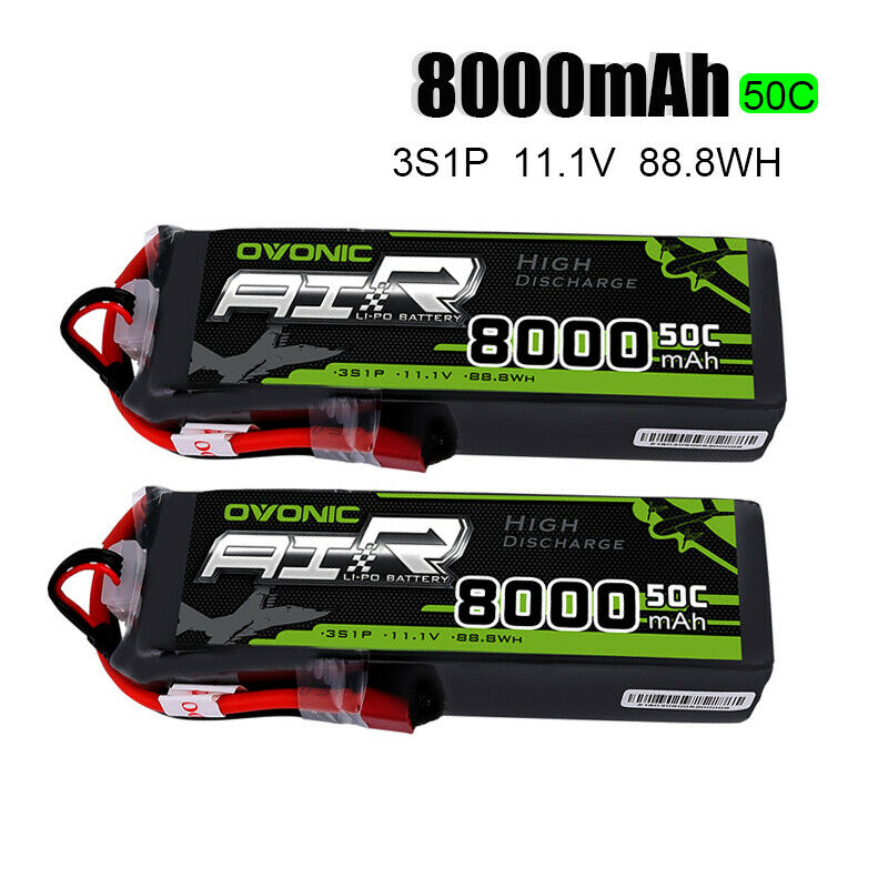 2 Packs OVONIC Lipo Batteries 8000mAh 50C 3S 11.1V Deans Plug for 1/8 Size RC Car Truck Boat Quadcopter Helicopter Drone2 Packs OVONIC Lipo Batteries 8000mAh 50C 3S 11.1V Deans Plug for 1/8 Size RC Car Truck Boat Quadcopter Helicopter Drone