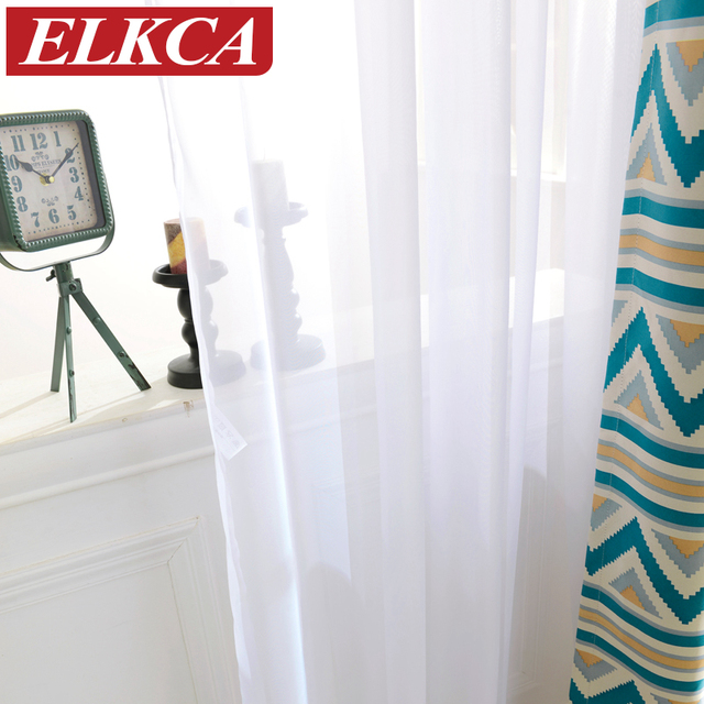 Goedkope Witte Gordijnen Effen Wit Tulle Moderne Gordijnen Woonkamer Transparante Tule Gordijnen Venster Sheer voor de Slaapkamer