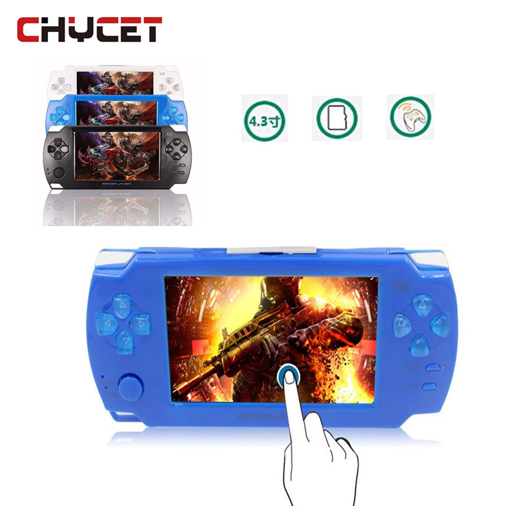 Touch screen  Game Players 8GB 4.3 inch mp4 player Video Handheld Game Console Free Games Ebook Camera Gaming Consoles