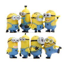 8pcs/lot Yellow Minion Rompers Miniature Figurines Toys Cute Lovely Model Kids Toys 3.5cm PVC Anime Children Figure(China)