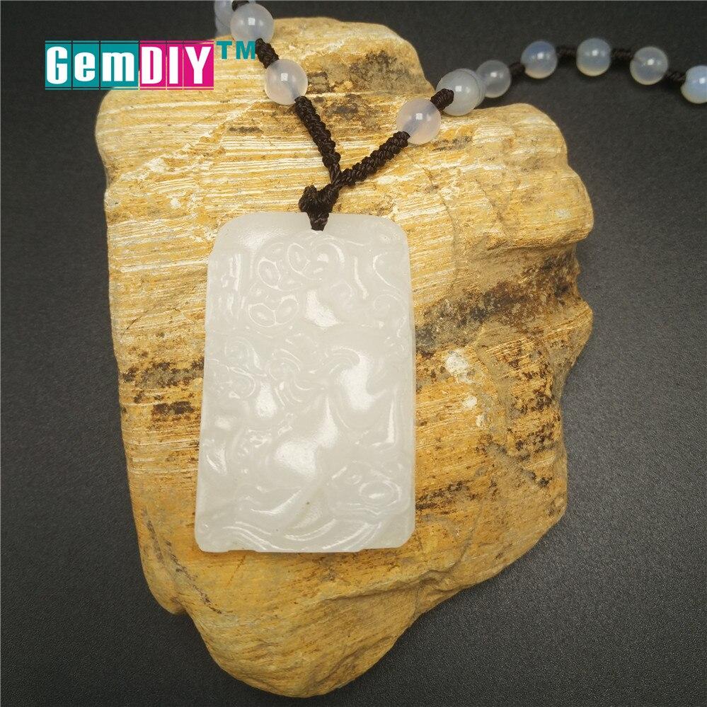 Натуральный белый камень храброго войска кулон Цепочки и ожерелья амулет безопасный Lucky ювелирные камни Подвески из бисера ручной работы