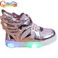 Novos meninos meninas led light up incandescência luminosa crianças shoes para crianças Sapatilhas de Couro PU Apartamentos Com Salto Calçados Esportivos Tamanho 21-30