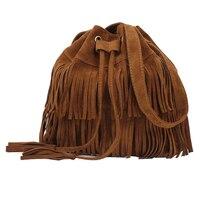 Puimentiua Женская модная однотонная сумка-ведро 2019 новая простая Ретро сумка-ведро с кисточками