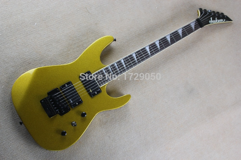 Chinese Factory 2017 Custom new SL2H Soloist finish Neck body together Jackson Gold electric guitar with Floyd Rose Tremolo 827 high quality blue finish mahogany body lp custom electric guitar with china floyd rose tremolo for sale