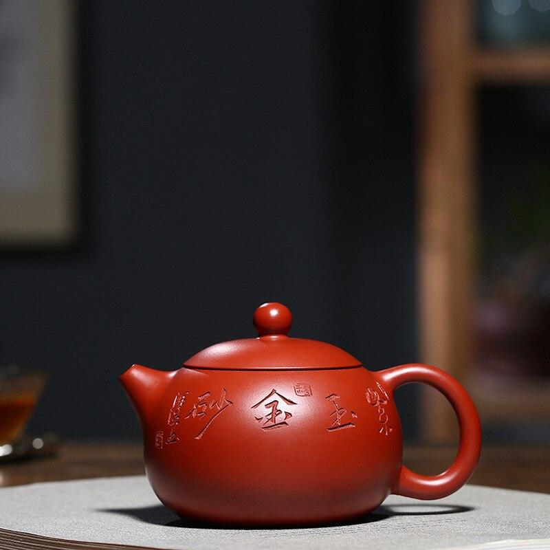 Théière produits de qualité ventilateur Zi Hong manuel complet minerai brut lumineux rouge Robe lettrage Xi Shi bouilloire Kungfu en ligne théière ensemble de thé