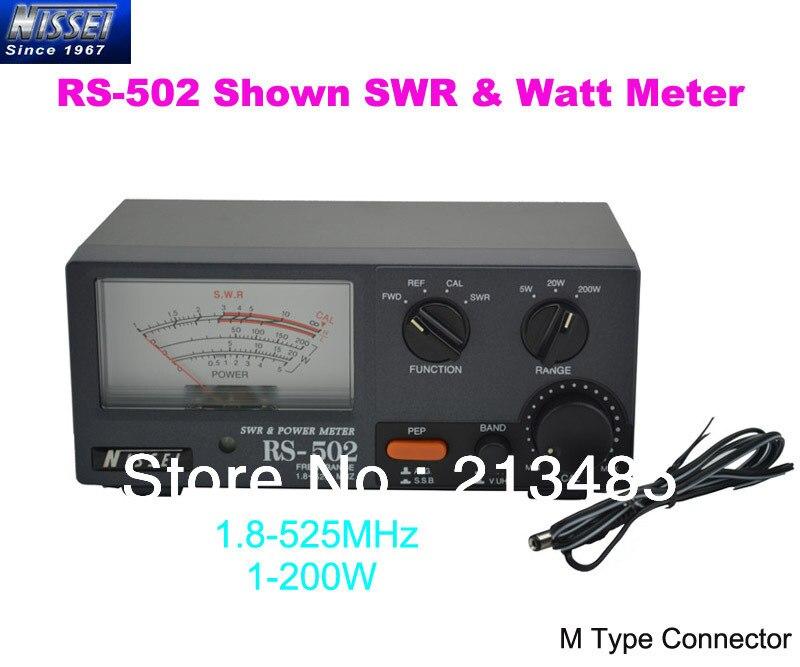 New Original NISSEI RS 502 Shown 1 8 525MHz 200W SWR Watt Metter M Type Connector