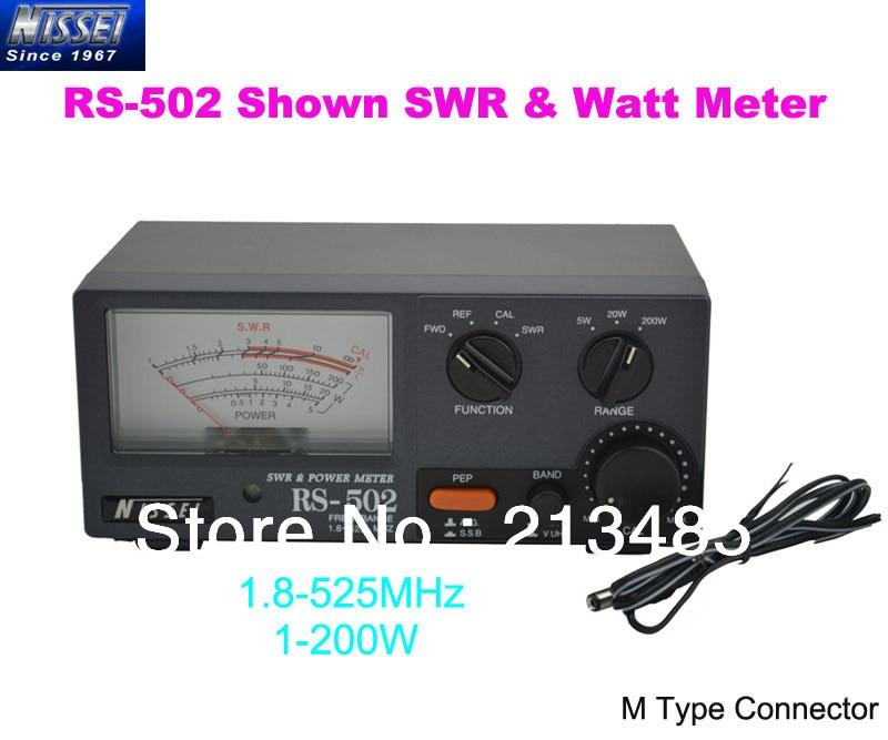 New Original NISSEI RS-502 Shown 1.8-525MHz 200W SWR & Watt Metter (M Type Connector)