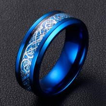 Fashion 8 mm stainless steel ring Luminous dragon tattoo ring Couples ring with silver black blue gold  6-13+BOX