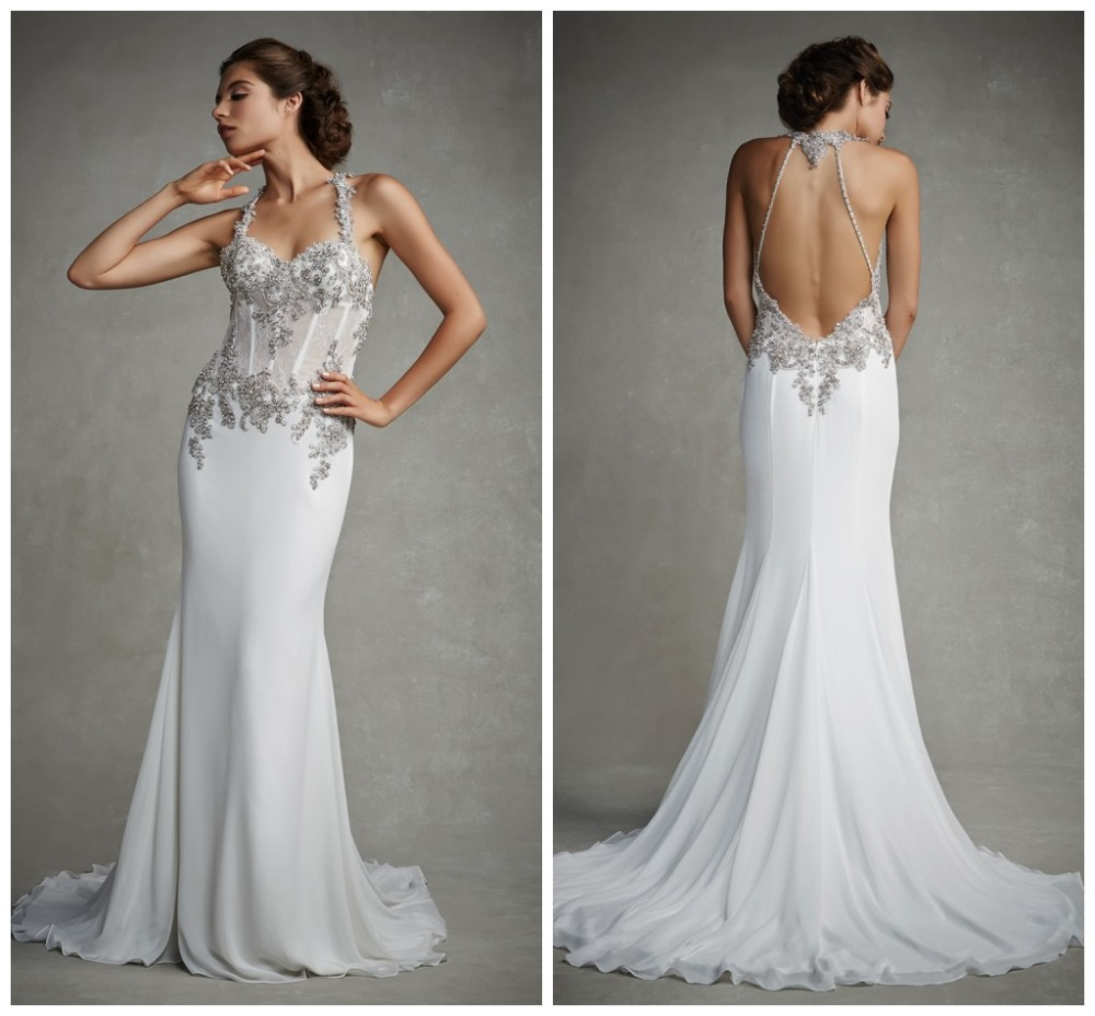 Halter Beach Long Chiffon Backless Wedding Dresses Beads