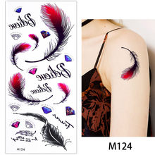 glaryyears 1 Sheet Black Fake Bracelet Chain Body Makeup Tattoo Temporary Sticker English Letter Feather Pattern Chest Art Decal