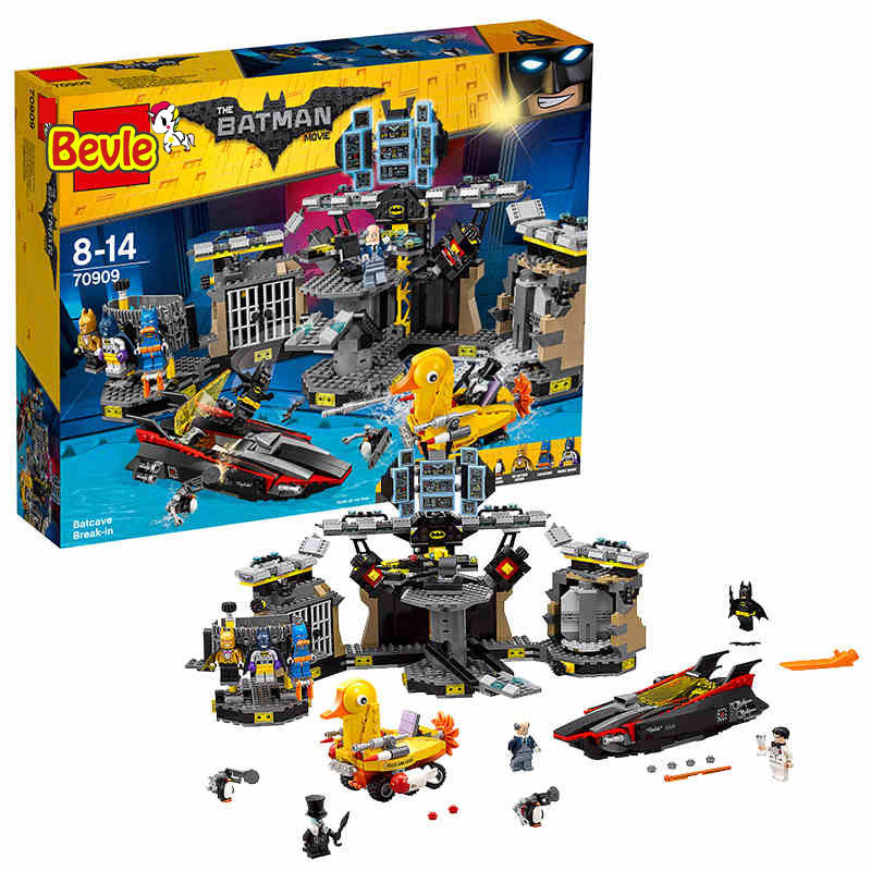 Bela 10636 1087Pcs Batman Movie BatCave Break-in Genuine Super Heroes Building Blocks Bricks Toys Compatible Legoings 70909 lepin 07052 super heroes movie blocks batcave break in toys for children model building blocks compatible batman 70909 christmas
