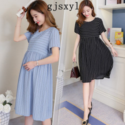 0224b718ec6 gjsxyl Summer Fashion Striped Chiffon Maternity Dress Stylish Clothes for Pregnant  Women Ties Waist Elegant Pregnancy