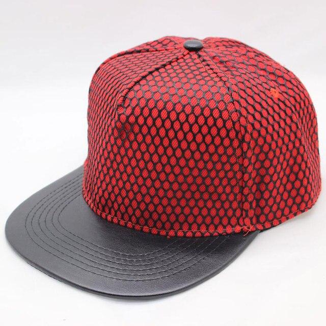 fb318c7c9ca women men flat bill snapback hat PU leather 5 panel hip hop baseball cap  with mesh