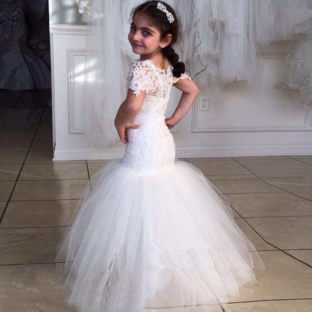 White Lace Flower Girl Dresses For Wedding 2017 Mermaid Floor Length