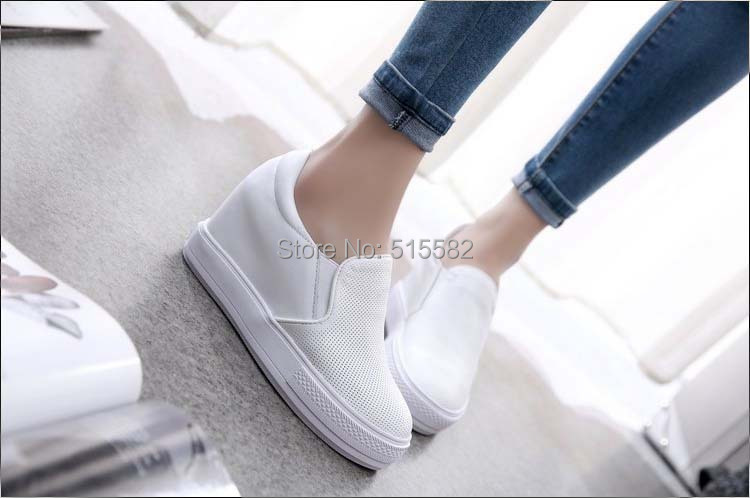 ФОТО new arrival hot sale womens all genuine leather breathable slip on loafers cut-outs casual hidden wedges platform single shoes
