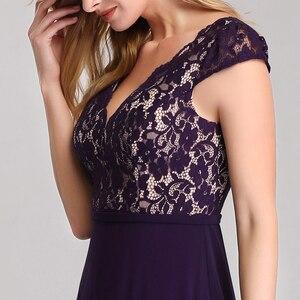 Image 5 - אי פעם די Robe De Soiree 2020 ארוך תחרה ערב שמלות אלגנטי קו V צוואר קצר שרוולים שחור צד פורמלי שמלות EP07344BK