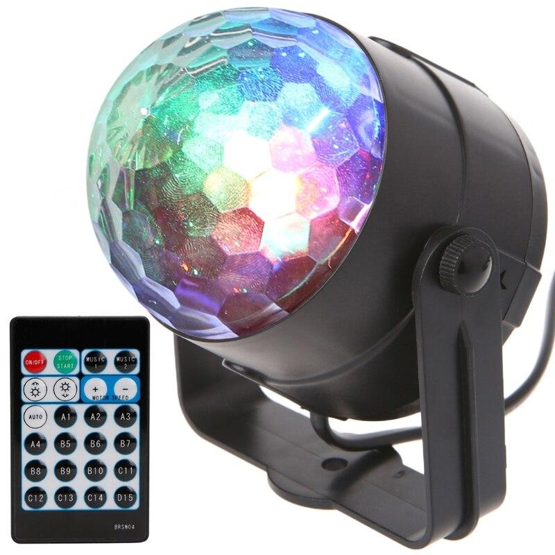 Fire Pattern Remote RGB LED Crystal Magic Rotating Ball Stage Light Colorful DJ