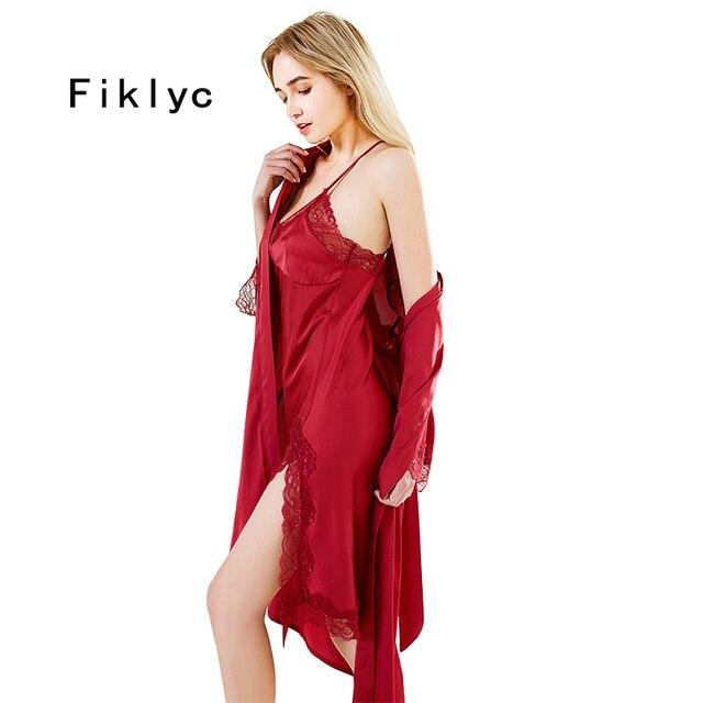 Fiklyc brand summer womens sleep & lounge lace & satin female pyjamas sets nighties sleepwear two pieces robe & gown sets NEW