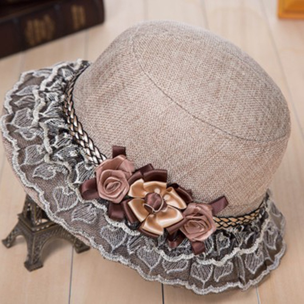 2019 Hot Sale Sunscreen Sun Hat Sweet 3D Flower Lace Wide Brim Blue Elegant Party Cap Holiday Beach Fashion Casual Hats Female