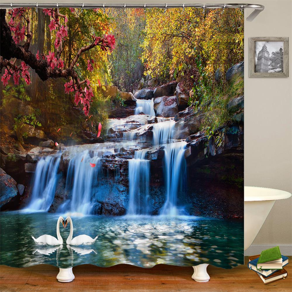 Nature Landscape Shower Curtian 3D Waterfall Scenery With Swan In The Water Design Bathroom Polyester Curtain Included Hooks